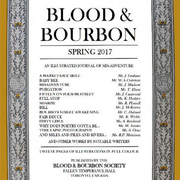 Blood & Bourbon Spring 2017 Edition Cover, Literary Magazine Toronto, ON
