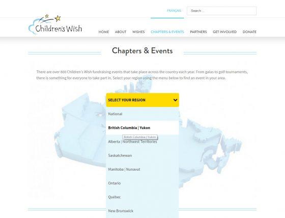 Children's Wish website, Chapters & Events, Avada theme, Wordpress, Stephen Thomas