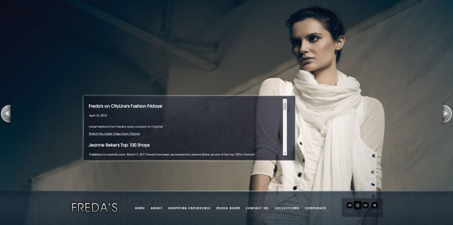 Freda's website fashion Toronto retail high-end for Superscope Media