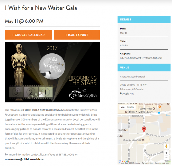 Children's Wish website, Chapters & Events, single event, Wish Gala, calendar, Avada theme, Wordpress, Stephen Thomas
