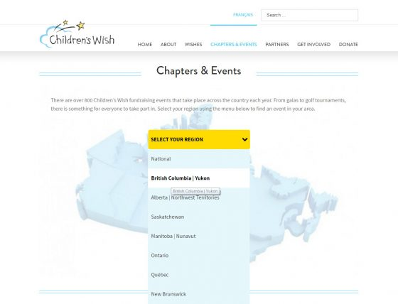 Children's Wish website, Chapters & Events, Avada theme, Wordpress, Stephen Thomas
